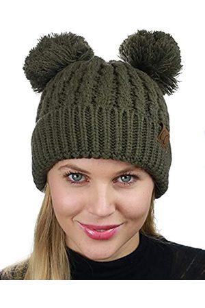 C.C Beanie-Mütze mit 2 Ohren, Zopfmuster, weich, dehnbar