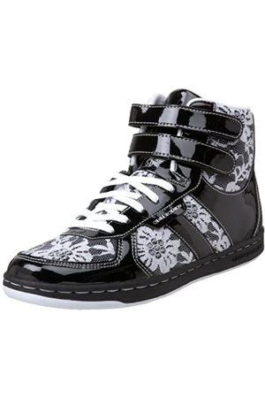 Creative Recreation Women's Dicoco High-Top Sneaker,Black/White/Lace Overlay