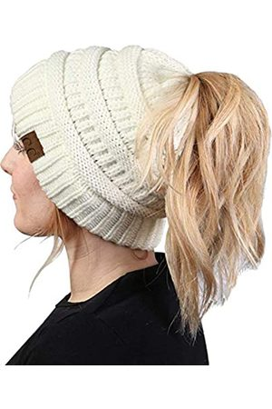 Funky JL Funky Junque CC BeanieTail Womens Ponytail Messy Bun Beanie Solid Ribbed Hat Cap