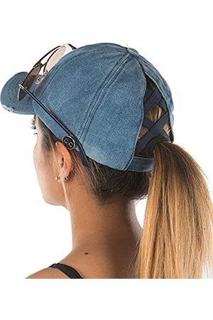 Funky Junque Criss Cross Hat Damen Pferdeschwanz Unordnung Bun Side Buttons Baseball Cap - Blau - Einheitsgröße