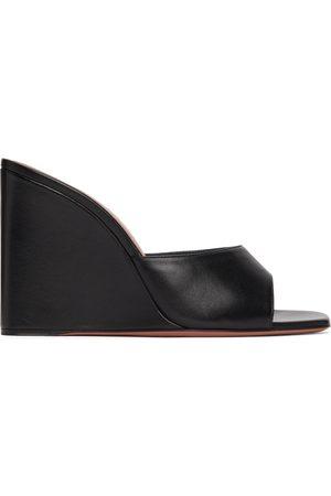 Amina Muaddi Black Lupita Wedge Heeled Sandals