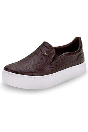 VIA MARTE Damen-Sneaker, Plateau, gepolsterte Einlegesohle, bequem, Tierdruck, Schokoladenbraun
