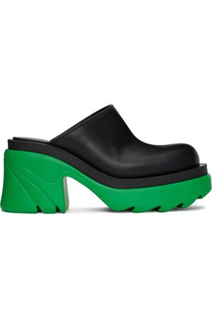Bottega Veneta Black & Green Flash Mules