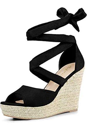 Allegra K Damen Peep Toe Lace Up Espadrille Keilabsatz High Heels Sandalen 38