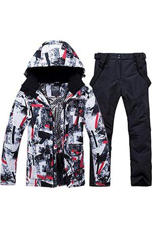 YEEFINE Herren Skijacke und Hose Set Wasserdicht Mountain Snow Snowboard Jacke Winter Outdoor Winddicht Schneeanzug (HBT+Black