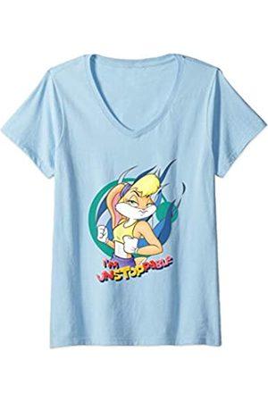 LOONEY TUNES Damen Lola Bunny Unstoppable T-Shirt mit V-Ausschnitt