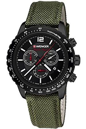 Wenger Unisex-Armbanduhr 01.0853.110 ROADSTER BLACK NIGHT CHRONO Analog Quarz Nylon 01.0853.110 ROADSTER BLACK NIGHT CHRONO