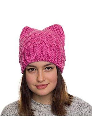 Hats&Cats Pinke Katzenmütze, handgefertigt, Beanie-Mütze für Damen