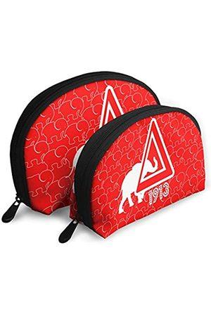 Syifasya Elephant 1913 rote Kosmetiktaschen Aufbewahrungstasche Beauty Case mit 4 Innentaschen Reise Tragbare Taschen Clutch Tasche für Frauen Wasserdicht 2-teiliges Set