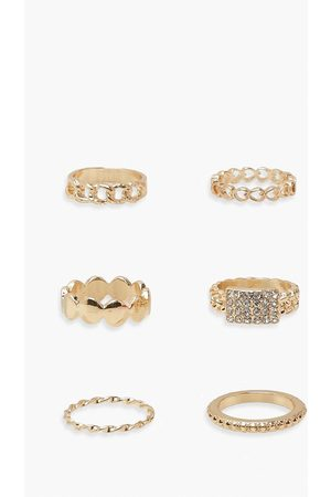 Boohoo Womens Assorted Diamante 5 Pack Ring Set - One Size