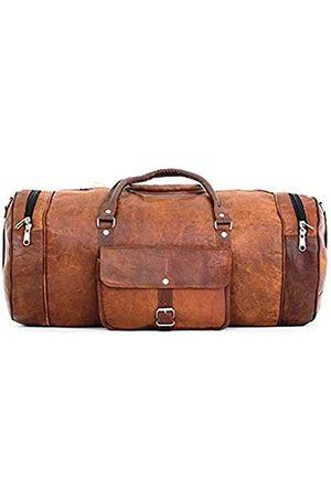 Vintage 1946 Leder-Reisetasche, rund, 53,3 cm, mit verstellbarem Gepäckriemen und 100 Jahre Garantie