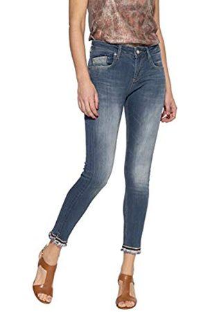 ATT Damen 5 Pocket Jeans | Damenhose | Slim Fit | Stone Wash | Offenen Saumkanten | Glitzerband Leoni