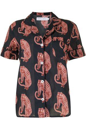 Desmond & Dempsey Pyjama mit Tiger-Print