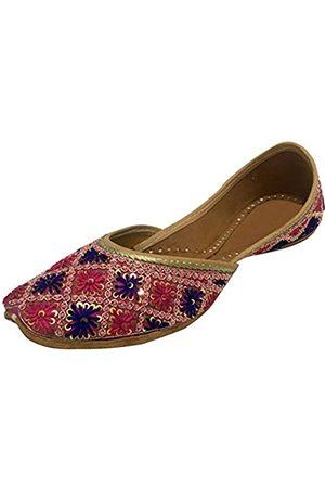 Step N Style Damene indische Khussa flache Pumps Phulkari mit Payel, (mehrfarbig)