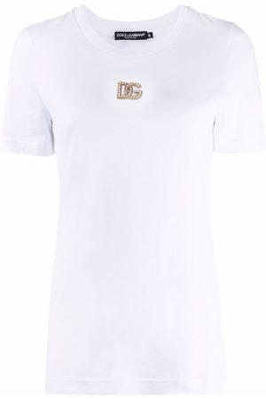 Dolce & Gabbana Damen T-Shirts, Polos & Longsleeves - T-Shirt mit Logo-Schild