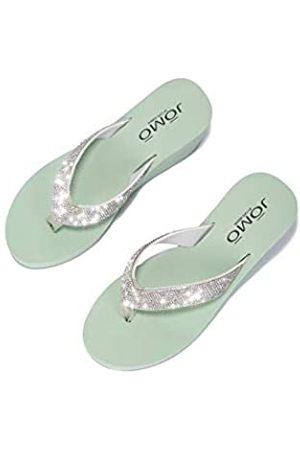 Cape Robbin Evo T-Strap Plateau Flips Flops Sandalen für Damen, flache Slides Damen Pantoletten Slip On Schuhe, (graugrün)