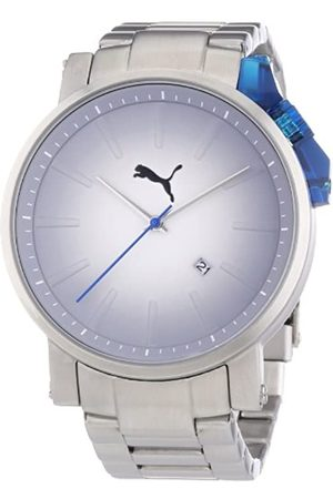 PUMA Time Herren-Armbanduhr XL Flag Metal- L Silver Blue Analog Quarz Edelstahl PU102631004