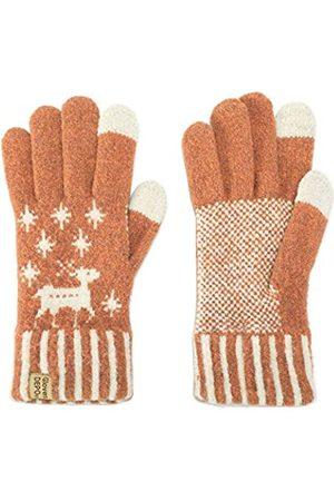 GlovesDEPO Warme Winterhandschuhe für Damen, mit Touch-Screen-Motiv, cremefarben, gestrickt, exquisit, weich, Stretch