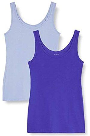 IRIS & LILLY Unterhemd Damen aus Baumwoll-Jersey mit U-Ausschnitt, 2er Pack, Mehrfarbig (Blue Denim, Bright Blue)