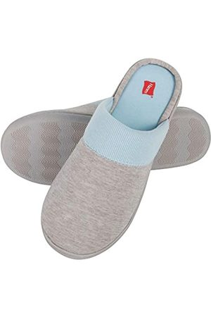 Hanes Womens Superior Comfort Cotton on Scuff With Memory Foam and Anti-skid Sole Slipper, Blue/Grey