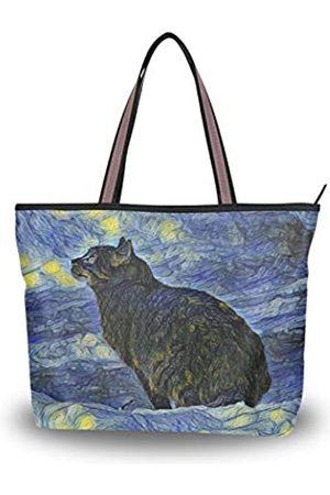 WIHVE Tragetasche für Damen, große Schultertasche, Henkel, (Van Gogh Cat Sky)