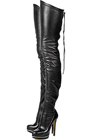 termarnoov 2019 Frauen Dünn High Heel Oberschenkel Hohe Stiefel PU Leder Plateau Booties Winter Reißverschluss Overknee Stiefel