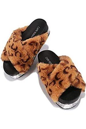 Cape Robbin Spotty Furry Faux Fur Slides Slippers, Plateau Riemchensandalen Strass für Frauen, Schwarz (Gepard)