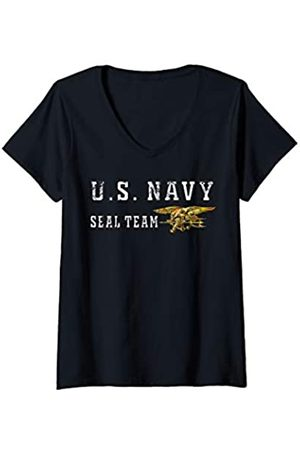Navy London Damen U.S. SEAL TEAM ORIGINAL VINTAGE SEALS GIFT LOGO T-SHIRT T-Shirt mit V-Ausschnitt