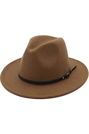 HUDANHUWEI Damen Klassische breite Krempe Fedora Hut mit Gürtelschnalle Filz Panama Hut - Braun - Einheitsgröße