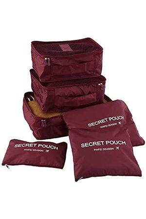 JARITTO Reiseorganizer Kofferset 6 Packs Würfel Aufbewahrungstasche für Kleidung (Bordeaux)