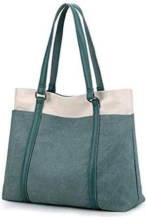 Wxnow Laptop-Tragetasche für Damen, aus Segeltuch, Schultertasche, Gr�n (C-green)