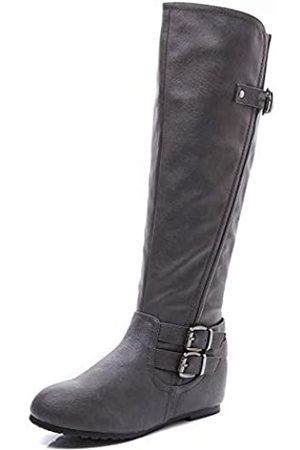 LifeStep Damen Lace Up Round Toe Low Heel Overknee Stiefel, ( 1)