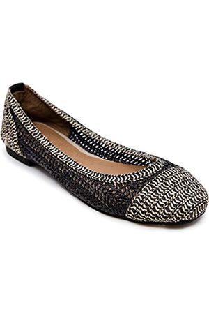 Nautica Women's Woven Slip On Shoes Ballet Casual Dress Walking Flats-Arina-Black/Black Tan-6.5
