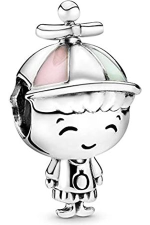 PANDORA Boy silver charm with pink and green enamel