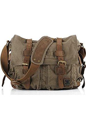 Sechunk Herren Vintage Military Leder leinwand Laptop-Tasche kuriertaschen medium klein - 13 € ™ armeegrün