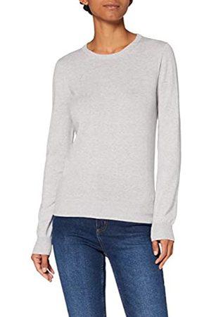 MERAKI Amazon-Marke: Baumwoll-Pullover Damen mit Rundhals, Grau (Light Grey), 40