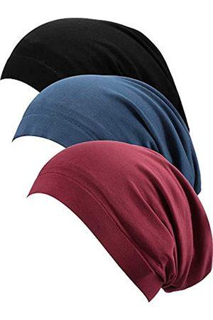 SATINIOR 3 Stücke Satin Gefüttert Schlaf Mütze Hut Slouchy Schlag Hut für Frauen (Farbe B)