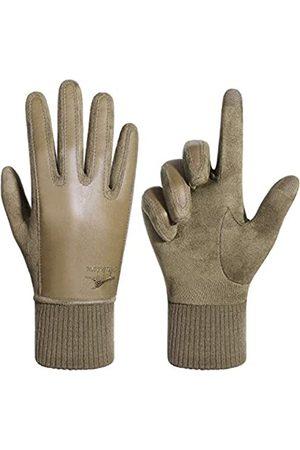 Achiou Damen Winter Touchscreen Handschuhe Thermohandschuhe Weich Bequem Elastische Bündchen Dehnbares Material Reisen Laufen Einkaufen - Beige - Medium