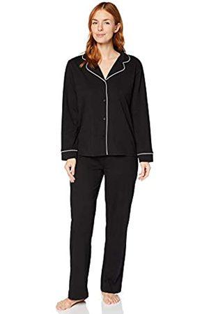 IRIS & LILLY Damen Pyjama-Set aus Baumwolle (Black), S