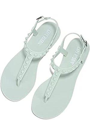 Cape Robbin Soma Gladiator Jelly Flip Flops Sandalen für Damen, T-Strap Flache Slides Damen Pantoletten Slip On Schuhe, Grün (graugrün)