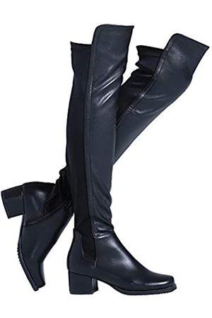 Shoe'N Tale Damen Overknee-Stiefel aus Velourslederimitat mit klobigem Absatz, Stretch, Overknee-hoch, Schwarz (Schwarzer PU-Absatz: 5,1 cm.)