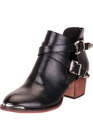 Cambridge Select Damen Western Spitze Spitze Seite Ausschnitt Riemchen Chunky Block Mid Heel Ankle Bootie, ( (Black Pu))