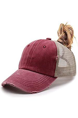 KKMKSHHG Pferdeschwanz-Baseballkappe für Damen, verstellbare Vintage-Trucker-Mütze, Used-Look, hoher Netzstoff, unordentlicher Dutt