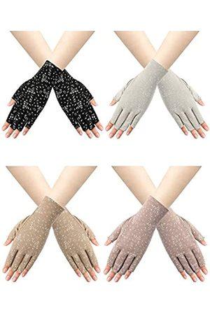Trounistro 4 Paar fingerlose Damenhandschuhe mit Sonnenschutz, rutschfest, UV-Sonnenschutz