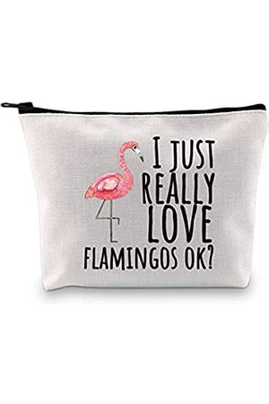 POFULL Flamingo-Liebhaber-Geschenk I Just Really Love Flamingos Kosmetik Make-up Tasche Pink Flamingo Geschenke für BFF Flamingo-Fans