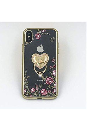 LFSMARKET IPhone Xs Max Hülle für Frauen Mädchen Flexibles TPU Klar mit Blumendesign 3D Luxus Bling Sparkle Kristall Diamant Ring Halter Kickstand Stoßfest Cover für Apple XS Max (6
