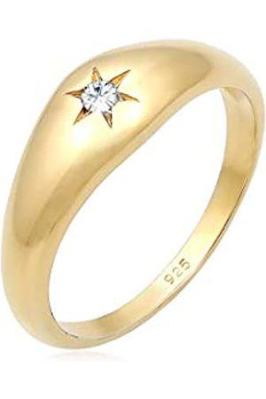 Elli Ring Damen Ring Siegelring Stern Kristalle in 925 Sterling Silber Vergoldet