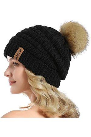 QUEENFUR Damen Strickmütze mit Kunstfell-Bommel, weich, warm
