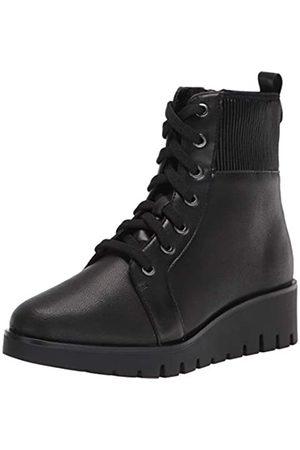 Anne Klein Damen Schnürschuh Keilabsatz Bootie Mode Stiefel, (schwarzes Leder)