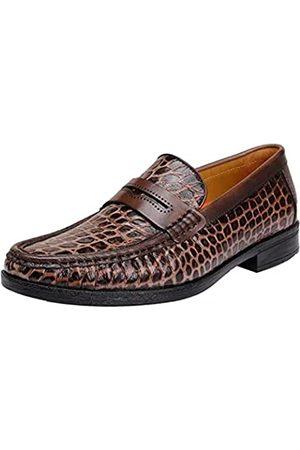 GOLDEN COXES FAMILY Herren Slip-On Loafers formelle Leder Kleid Schuhe, (khaki brown)